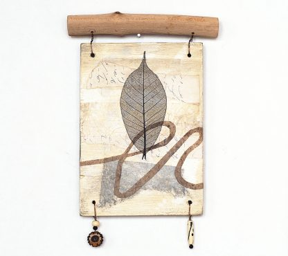 Mixed media wall hanging, abstract collage with leaf