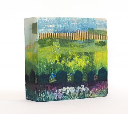 Mixed media abstract landscape on a wooden block