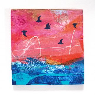 Abstract mixed media seascape with gulls