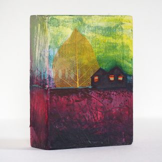 Mixed media art block, whimsical fantasy landscape