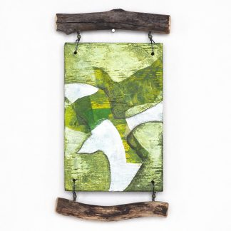 Mixed media wall hanging with green bird motif