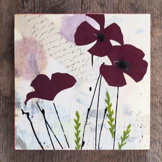 Mixed media art, dark red poppies
