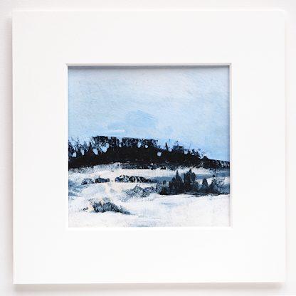 "Mixed media abstract landscape, 6"" x 6"""