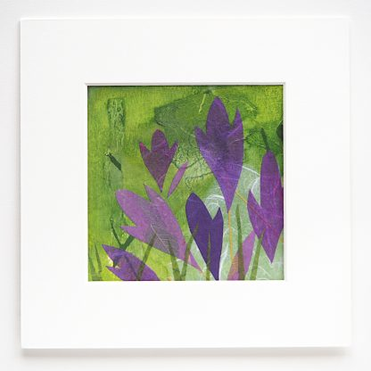"Mixed media collage, crocuses, 6"" x 6"""