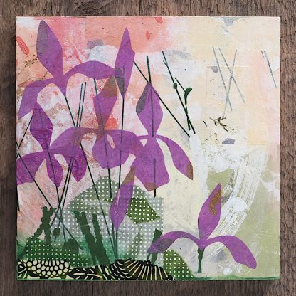 "Mixed media art, abstract purple irises, 8"" x 8"""