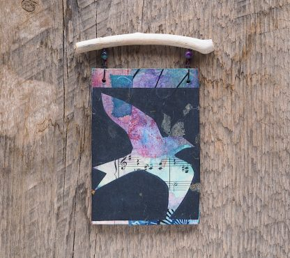 Mixed media wall hanging, bird in flight on reclaimed wood