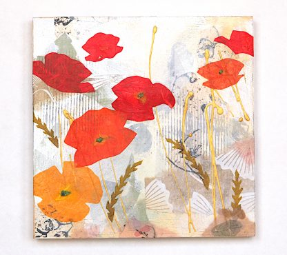 "Abstract poppy collage, mixed media on 8"" x 8"" panel"