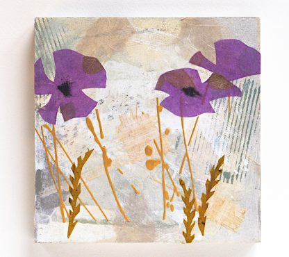 Abstract purple poppies, set of two mixed media panels