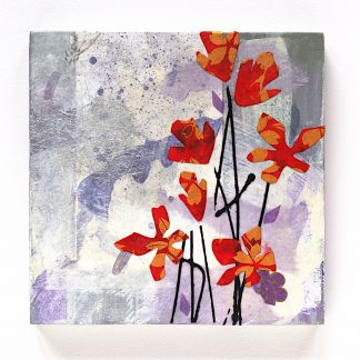 Mixed media wall art, abstract red and gold flowers on 6x6 panel