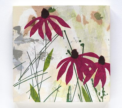 Abstract purple coneflowers, mixed media on 8x8 panel