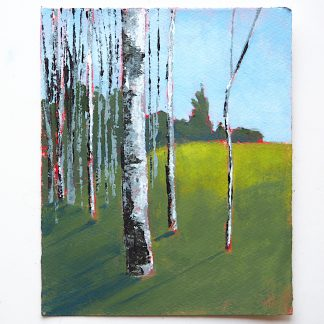 Landscape painting, aspen trees and a green field