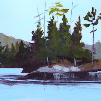 Landscape painting, lake with rocky island and pine trees