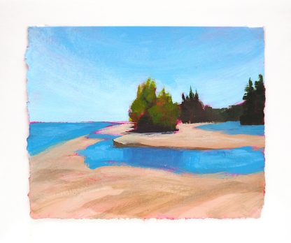 Landscape painting, beach at river mouth with trees