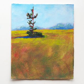 Lanscape painting, yellow field with pine sapling