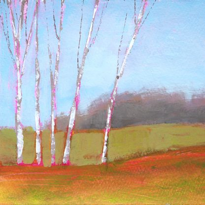 Landscape painting, spring scene with five aspen trees