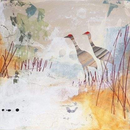 "Two sandhill cranes, mixed media on 10"" x 10"" panel"