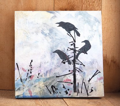 Mixed media, three perched ravens