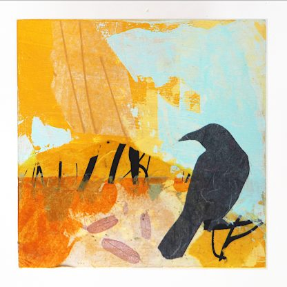 Lone raven, abstract mixed media on 6x6 panel