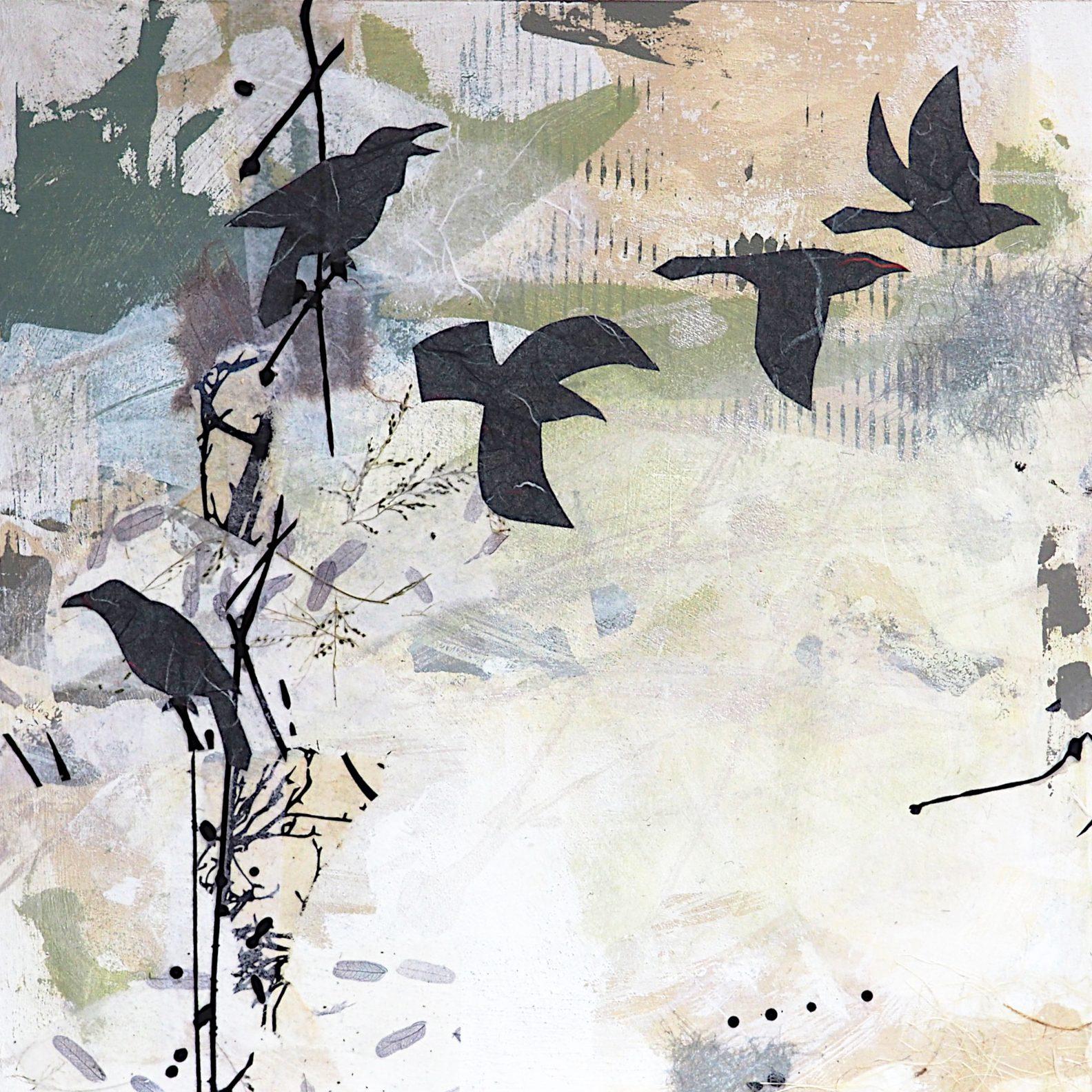 "Five ravens, mixed media on 12"" x 12"" cradled panel."