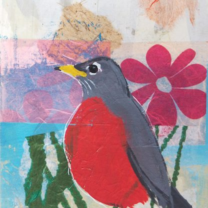 Robin with a pink flower, mixed media on paper