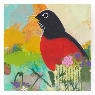 Robin with spring flowers, mixed media on panel
