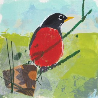 Robin in a spring landscape, mixed media on paper