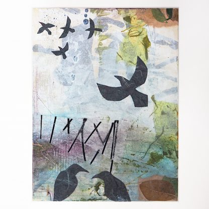 Seven ravens, abstract mixed media on 6x8 wooden panel