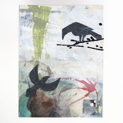 Two ravens, abstract mixed media on 6x8 wooden panel