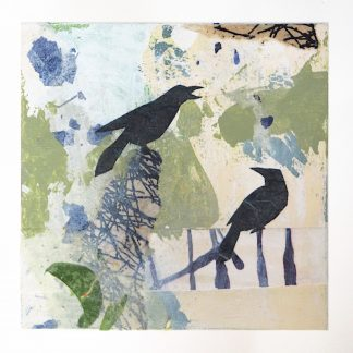 Two ravens, abstract mixed media on 6x6 wooden panel