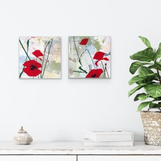 Red abstract poppies, mixed media on panel, set of 2
