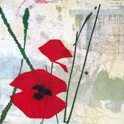 Red abstract poppies, mixed media on panel, 1 of 2