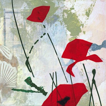 Red abstract poppies, mixed media on panel, 2 of 2