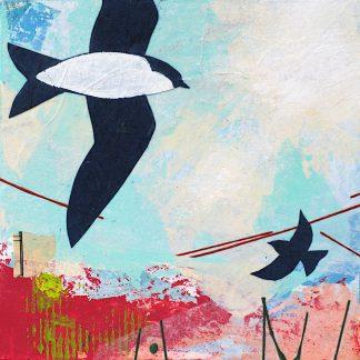 Tree swallows, mixed media on panel
