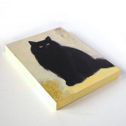 Fluffy black cat, mixed media on panel