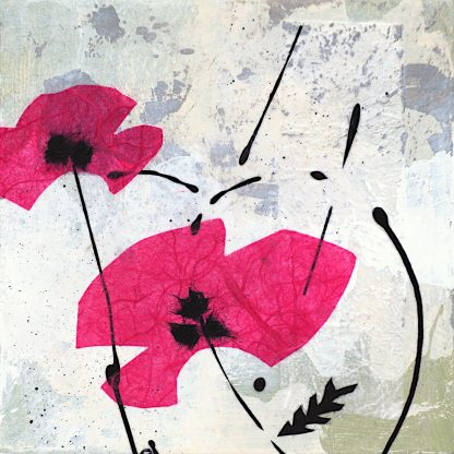 Pink abstract poppies, mixed media on panel