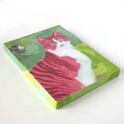 Pink tabby cat, mixed media on panel