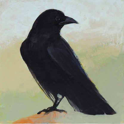Perched crow, mixed media on panel